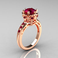 Modern Classic 14K Pink Gold 1.5 Carat Rhodolite Garnet Crown Engagement Ring AR128-14KPGRGG-1