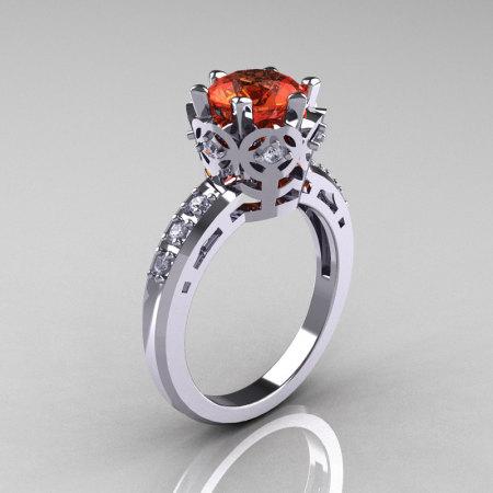 Modern Classic 10K White Gold 1.5 Carat Tangerine Garnet Diamond Crown Engagement Ring AR128-10KWGDTG-1