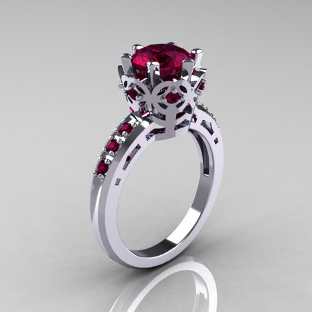 Modern Classic 14K White Gold 1.5 Carat Rhodolite Garnet Crown Engagement Ring AR128-14WGRGG-1