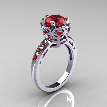 Classic Armenian 950 Platinum 1.5 Carat Rubies Crown Engagement Ring AR128-PLATRR-1