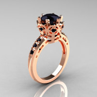 Modern Classic 10K Pink Gold 1.5 Carat Black Diamond Crown Engagement Ring AR128-10PGBDD-1