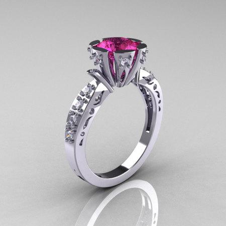 Modern Antique 14K White Gold 1.0 Carat Pink Sapphire Diamond Engagement Ring AR129-14WGDPS-1