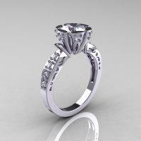Modern Antique 14K White Gold 1.0 Carat Cubic Zirconia Diamond Engagement Ring AR129-14WGDCZ-1