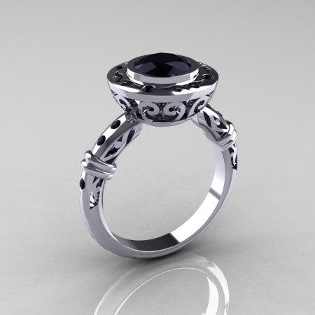 Modern Antique 14K White Gold 1.0 Carat Black Diamond Designer Engagement Ring RR131-14KWGBDD-1