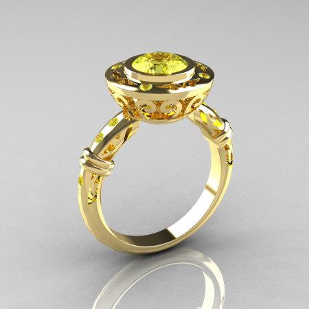 Modern Antique 18K Yellow Gold 1.0 Carat Yellow Cubic Zirconia Designer Engagement Ring RR131-18KYGYCZ-1
