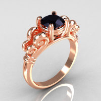 Modern Antique 10K Pink Gold 1.0 Carat Round Black Diamond Designer Solitaire Ring R141-10KPGBD-1