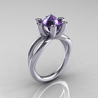 Modern Russian 14K White Gold 2.0 Carat Alexandrite Diamond Bridal Ring RR111-14KWGDAL-1