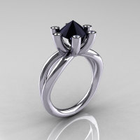 Modern Russian 18K White Gold 2.0 Carat Black Diamond Bridal Ring RR111-18KWGDBD-1