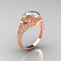 Modern Victorian 14K Rose Gold 1.16 Carat Oval Zircon 0.24 CTW Diamond Bridal Ring R158-14KRGDZ-1