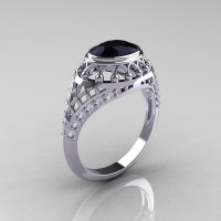 Modern Victorian 14K White Gold 1.16 Carat Oval Black Diamond 0.24 CTW Diamond Bridal Ring R158-14KWGDBD-1