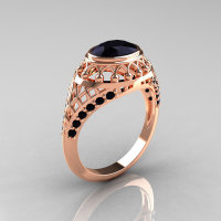 Modern Victorian 14K Rose Gold 1.16 Carat Oval Black Diamond Bridal Ring R158-14KRGBDD-1