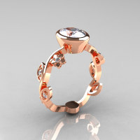 Classic 14K Rose Gold 1.0 Carat Oval Moissanite Diamond Flower Leaf Engagement Ring R159O-14KRGDM-1