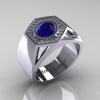 Gentlemens Modern 14K White Gold 1.0 Carat Blue Sapphire Diamond Celebrity Engagement Ring MR161-14KWGDBS-1