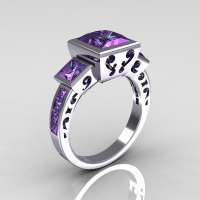 Classic Bridal 14K White Gold 2.5 Carat Square Three Stone Princess Alexandrite Ring R315-14WGAL-1