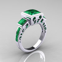 Classic Bridal 14K White Gold 2.5 Carat Square Three Stone Princess Emerald Ring R315-14WGEM-1