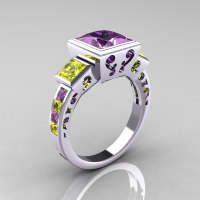 Classic Bridal 10K White Gold 2.5 Carat Square Three Stone Princess Amethyst Topaz Cocktail Ring R315-10WGLAYT-1
