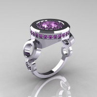 Modern 18K White Gold 1.0 Carat Lilac Amethyst Designer Engagement Ring R163-18KWGLAM-1