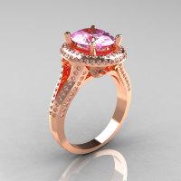 French Bridal 10K Rose Gold 2.5 Carat Oval Light Pink Topaz Diamond Cluster Engagement Ring R164-10KRGDLPT-1