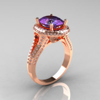 French Bridal 14K Rose Gold 2.5 Carat Oval Alexandrite Diamond Cluster Engagement Ring R164-14KRGDAL-1
