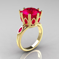 Classic 18K Yellow Gold Marquise 5.0 CT Round  Rubies Solitaire Ring R160-18KYGRR-1