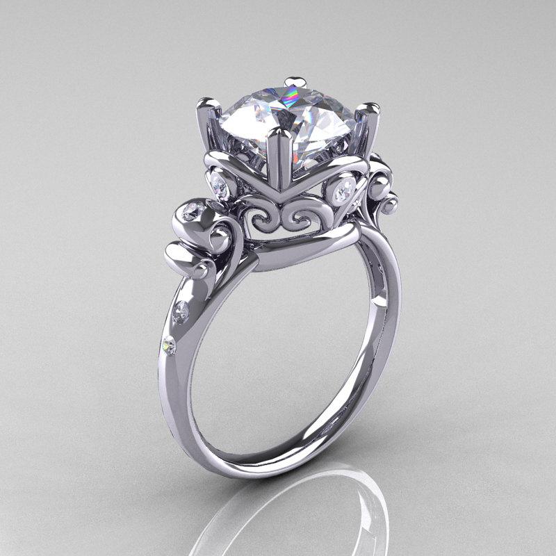 Modern Vintage 14k White Gold 2 5 Carat Shire Diamond Wedding Engagement Ring R167 14kwgdws