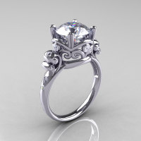 Modern Vintage 950 Platinum 2.5 Carat CZ Diamond Wedding Engagement Ring R167-PLATDCZ-1