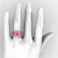 Ultra Modern 10K Rose Gold Princess Invisible and 1.0 CT Emerald Light Pink Sapphire Engagement Ring R169-10KRGLPS-1