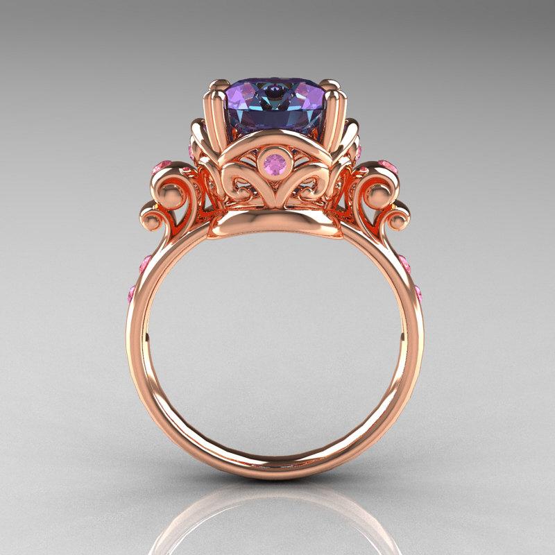 Wonderful Modern Vintage 14K Rose Gold 2.5 Carat Alexandrite and Light Pink  SS38