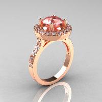 Classic 10K Rose Gold 1.5 Carat Morganite Diamond Solitaire Wedding Ring R115-10KRGDMO-1
