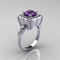 Modern Antique 950 Platinum 2.0 Carat Alexandrite Diamond Engagement Ring AR116-PLAT2AL-1