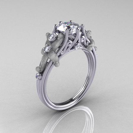 Fantasy Vintage 950 Platinum 1.0 CT Round White Sapphire Diamond Sea Star Engagement Ring R173-PLATDWS-1