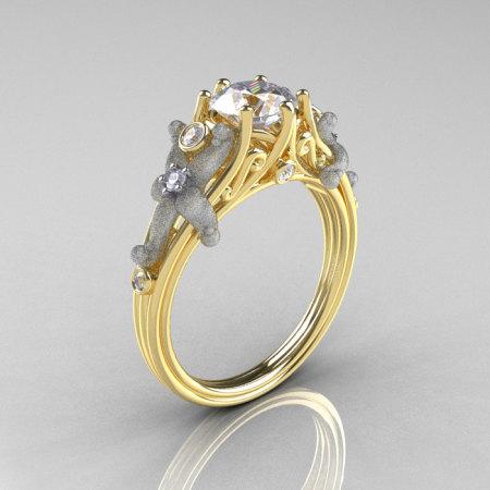 Classic Vintage 14K Two Tone Gold 1.0 CT Round White Sapphire Diamond Sea Star Engagement Ring R173-14KTTYGDWS-1