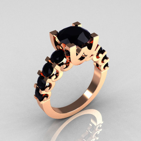Modern Vintage 14K Rose Gold 2.0 Carat Black Diamond Designer Wedding Ring R142-14KRGBD-1