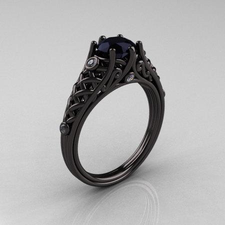 Designer Exclusive Classic 14K Black Gold 1.0 Carat Black Diamond Lace Ring R175-14KBGDBD-1