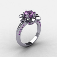 14K White Gold Lilac Amethyst Wedding Ring Engagement Ring NN102-14KWGLA-1
