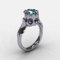 Natures Nouveau 950 Platinum Aquamarine Wedding Ring Engagement Ring NN105-PLATAQ-1
