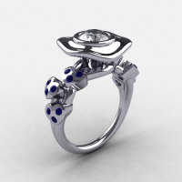 Natures Nouveau 950 Platinum Blue and White Sapphire Leaf and Mushroom Wedding Ring Engagement Ring NN103A-PLATBWS-1