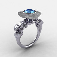 Natures Nouveau 14K White Gold Blue Topaz Diamond Leaf and Mushroom Wedding Ring Engagement Ring NN103SA-14KWGDBT-1