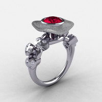 Natures Nouveau 14K White Gold Ruby Diamond Leaf and Mushroom Wedding Ring Engagement Ring NN103SA-14KWGDR-1
