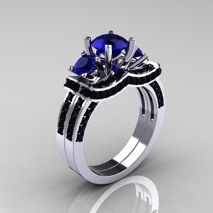 French 14k White Gold Three Stone Blue Shire Black Diamond Wedding Ring Engagement Bridal Set