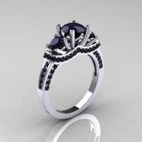French Platinum Three Stone Dark Blue Sapphire Wedding Ring Engagement Ring R182-PLATDBS-1