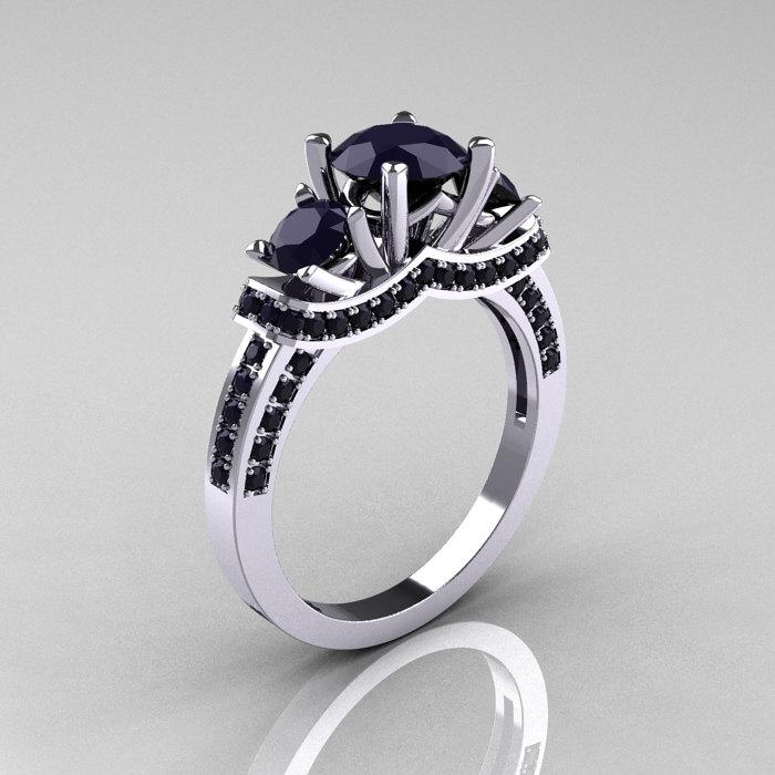 French Platinum Three Stone Dark Blue Shire Wedding Ring Engagement R182 Platdbs 1