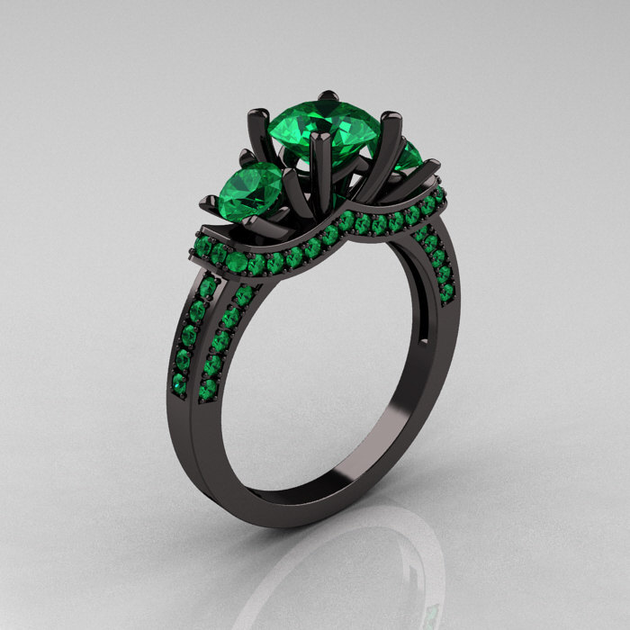 French 14k Black Gold Three Stone Emerald Wedding Ring Engagement R182 14kbgem 1