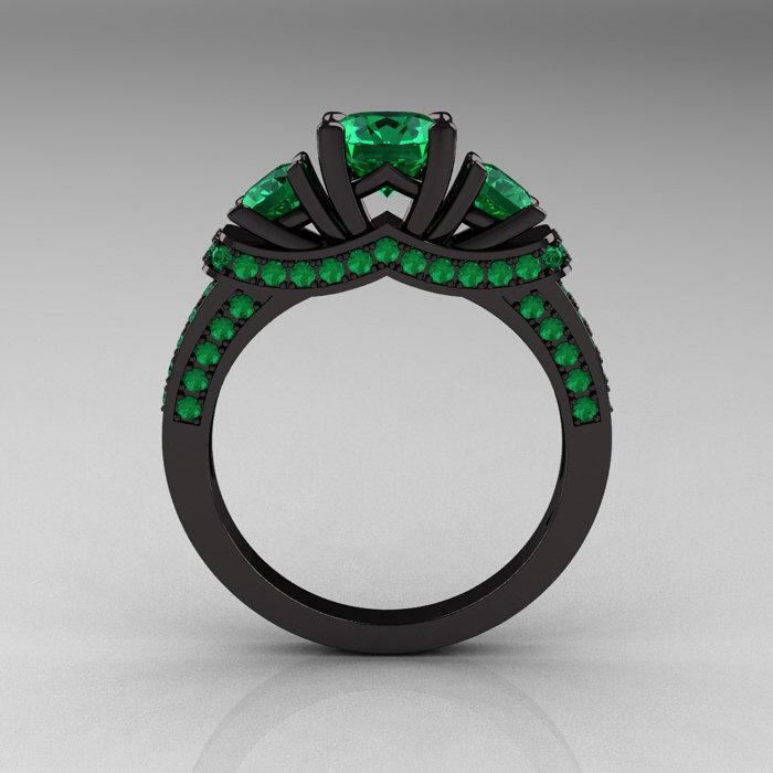 french 14k black gold three stone emerald wedding ring engagement ring r182 14kbgem 2 - Emerald Wedding Rings