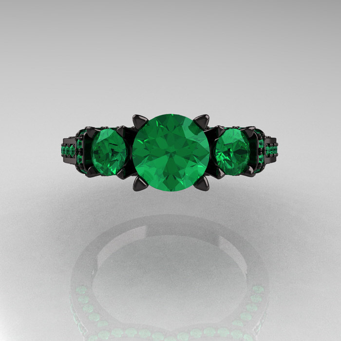 french 14k black gold three stone emerald wedding ring engagement ring r182 14kbgem 4 - Emerald Wedding Ring