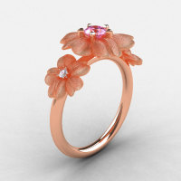 Natures Nouveau 14K Rose Gold Light Pink Sapphire Diamond Flower Engagement Ring NN107S-14KRGDLPS-1