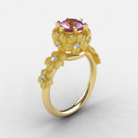 Natures Nouveau 14K Yellow Gold Lilac Amethyst Diamond Flower Engagement Ring NN109S-14KYGDLA-1