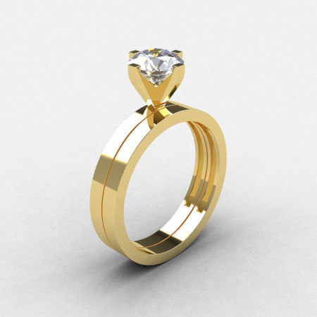 Modern 10K Yellow Gold 1.0 CT White Sapphire Solitaire Engagement Ring Wedding Band Bridal Set R186S-10KRGWS-1