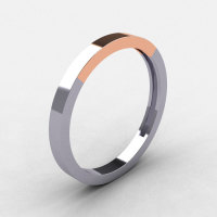 Modern 18K Two Tone Rose and White Gold Wedding Band R186B-18KTT4WRG-1