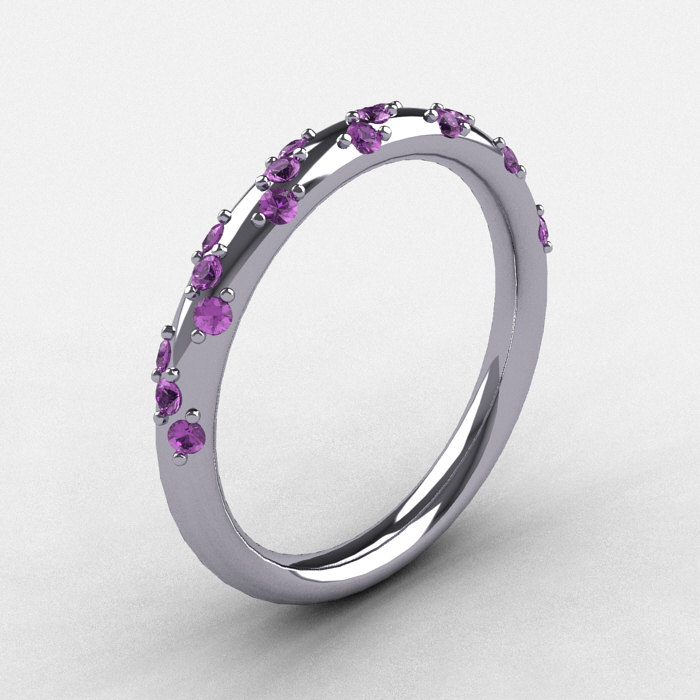 French Bridal 10k White Gold Lilac Amethyst Wedding Band R185b 10kwgla 1